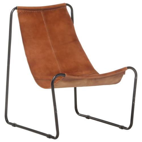 Dream Living Fåtölj brun äkta läder