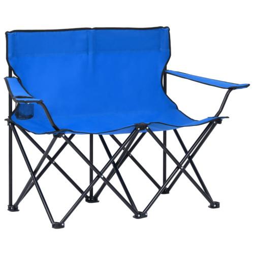 vidaXL 2-sits hopfällbar campingstol stål och tyg blå