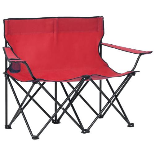 vidaXL 2-sits hopfällbar campingstol stål och tyg röd