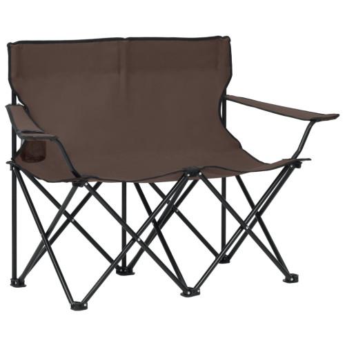 vidaXL 2-sits hopfällbar campingstol stål och tyg taupe