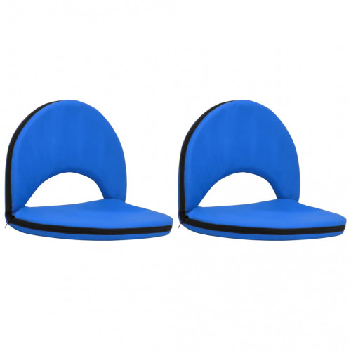 vidaXL Golvstol hopfällbar 2 st blå stål och tyg