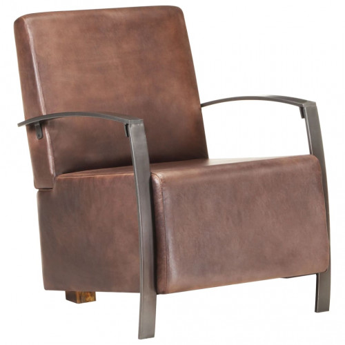 vidaXL Fåtölj nött brun äkta läder