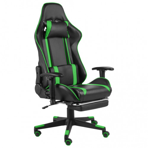 vidaXL Snurrbar gamingstol med fotstöd grön PVC