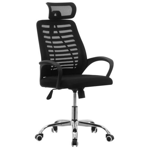 vidaXL Snurrbar kontorsstol svart nättyg