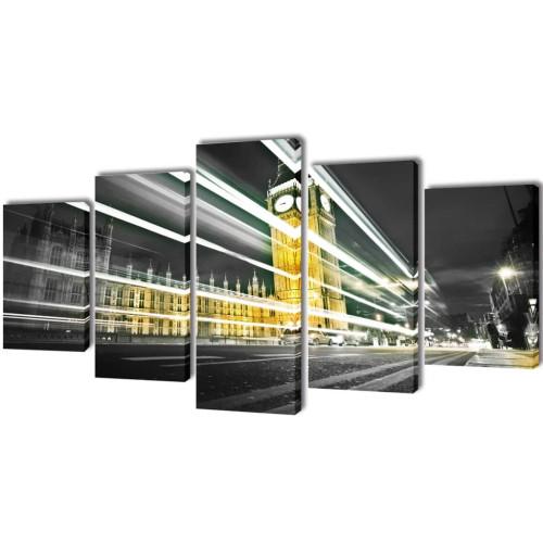 vidaXL Uppsättning väggbonader på duk: London Big Ben 100 x 50 cm