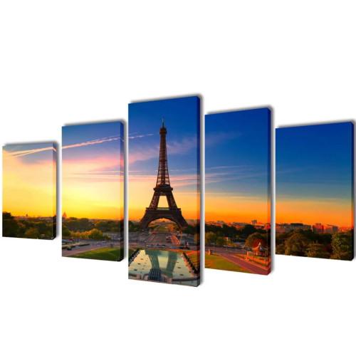 vidaXL Uppsättning väggbonader på duk: Eiffeltornet 100 x 50 cm