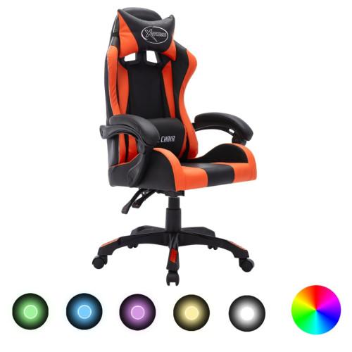 vidaXL Gamingstol med RGB LED-lampor orange och svart konstläder