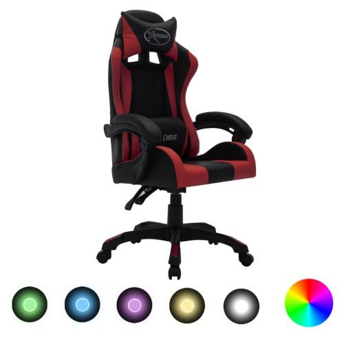 vidaXL Gamingstol med RGB LED-lampor vinröd och svart konstläder