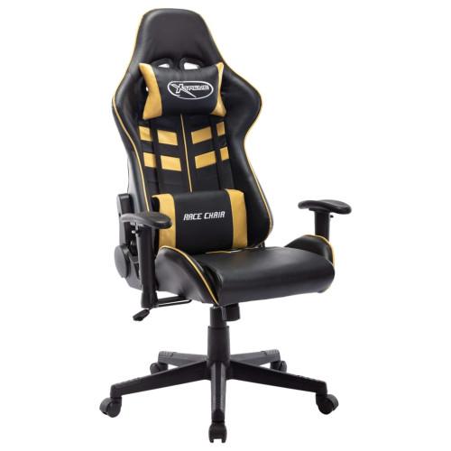 vidaXL Gamingstol svart och guld konstläder