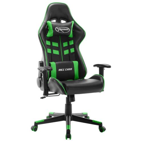 vidaXL Gamingstol svart och grön konstläder