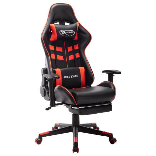 vidaXL Gamingstol med fotstöd svart och röd konstläder