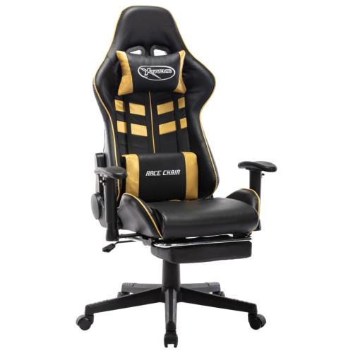 vidaXL Gamingstol med fotstöd svart och guld konstläder