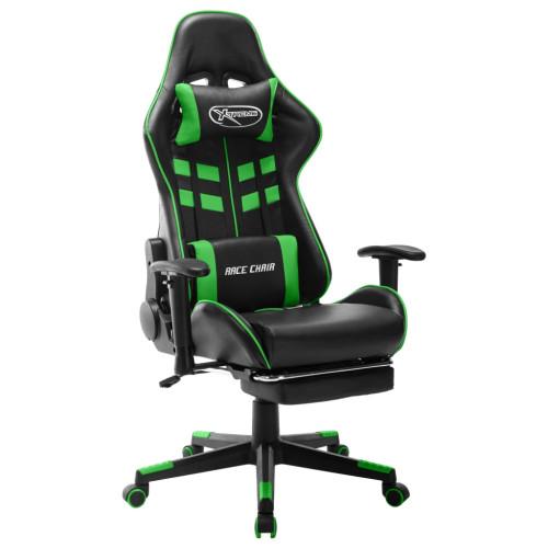 vidaXL Gamingstol med fotstöd svart och grön konstläder