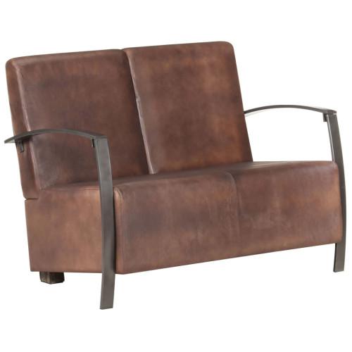 Dream Living 2-sitssoffa nött brun äkta skinn