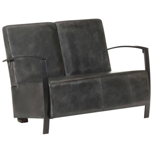 Dream Living 2-sitssoffa nött grå äkta skinn