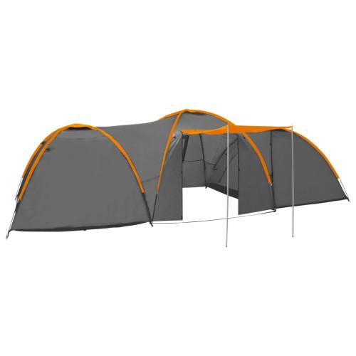 vidaXL Kupoltält 650x240x190 cm 8 personer grå och orange