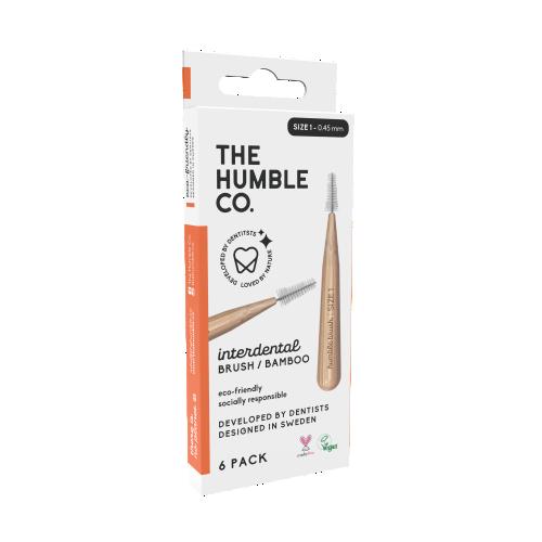 The humble co. Interdental Brush Bamboo - Orange 6-p (size 1 - 0,45 mm)