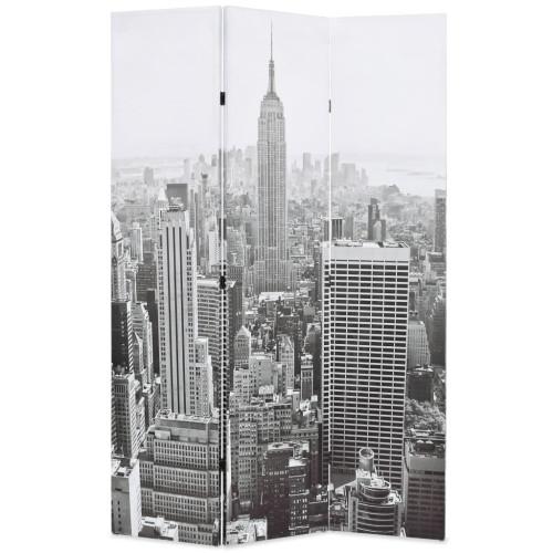 vidaXL Hopfällbar rumsavdelare New York i dagtid 120x170 cm svart/vit