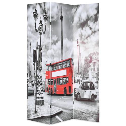vidaXL Vikbar rumsavdelare Londonbuss 120x170 cm svart/vit