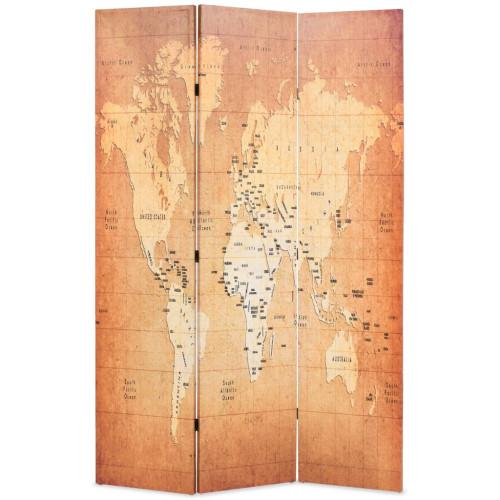 vidaXL Vikbar rumsavdelare världskarta 120x170 cm gul