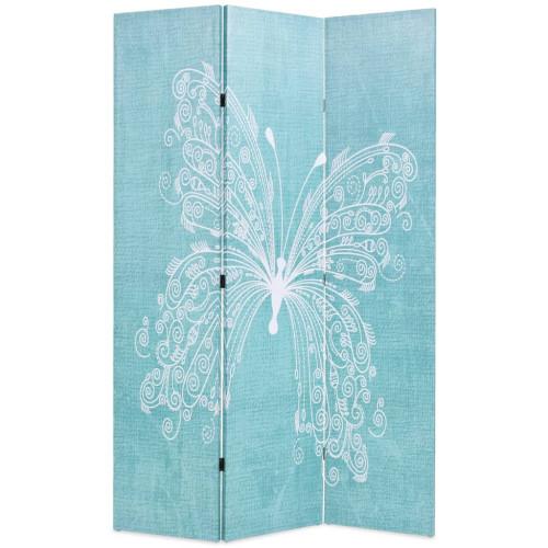 vidaXL Vikbar rumsavdelare fjäril 120x170 cm blå
