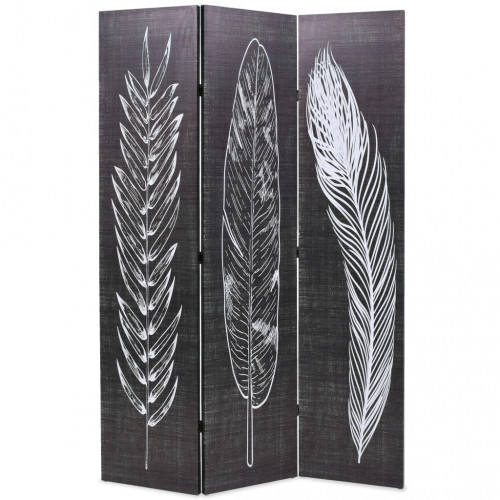 vidaXL Vikbar rumsavdelare fjädrar 120x170 cm svart och vit