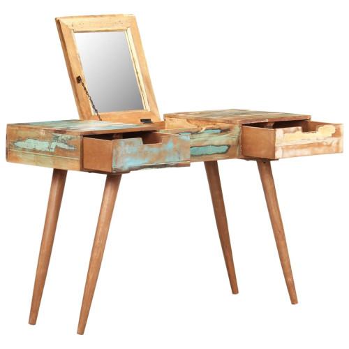 vidaXL Sminkbord  med spegel 112x45x76 cm massivt återvunnet trä