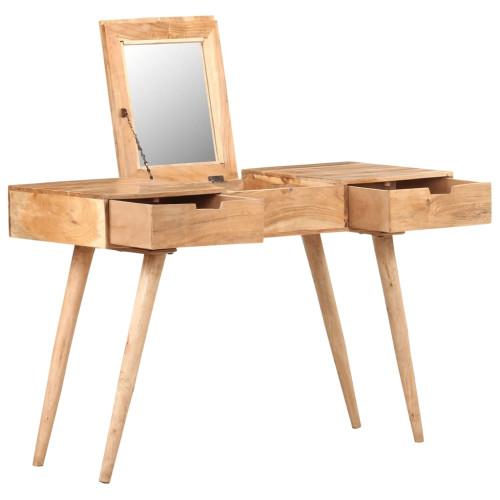 vidaXL Sminkbord  med spegel 112x45x76 cm massivt mangoträ
