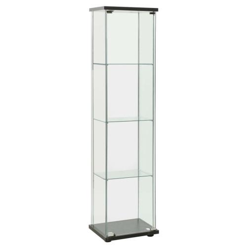vidaXL Förvaringsskåp härdat glas svart