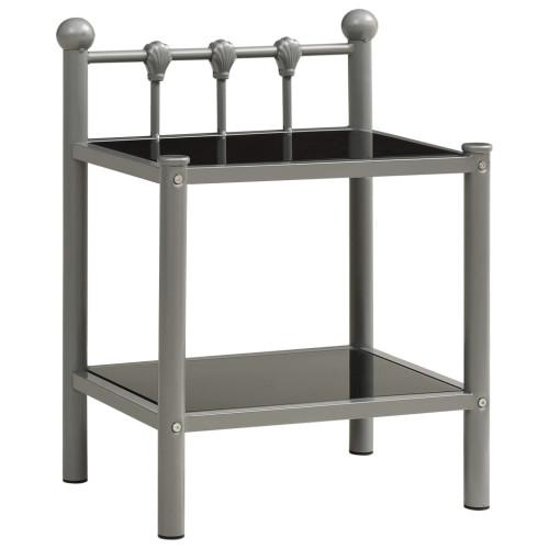 vidaXL Sängskåp grå och svart 45x34,5x60,5 cm metall och glas
