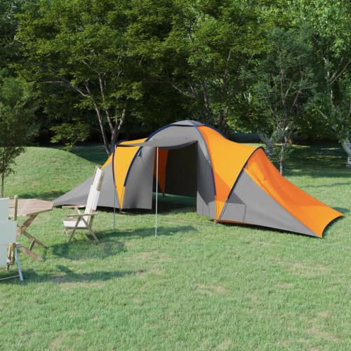 vidaXL Tält för 6 personer grå och orange