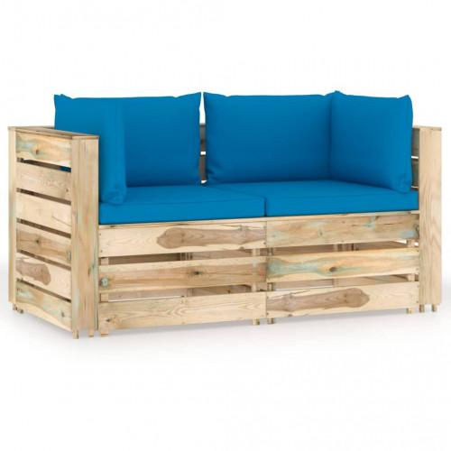 vidaXL 2-sitssoffa för trädgården med dynor tryckimpregnerat trä