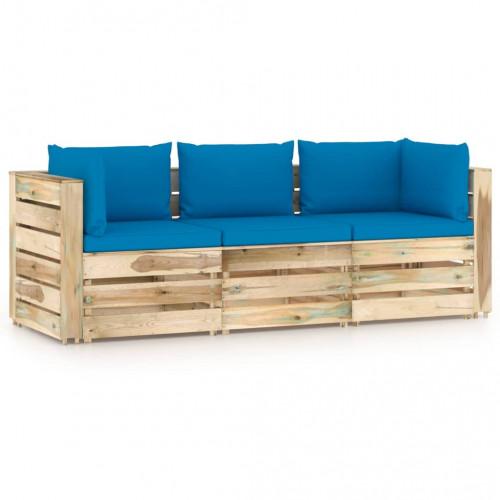 vidaXL 3-sitssoffa för trädgården med dynor impregnerat trä