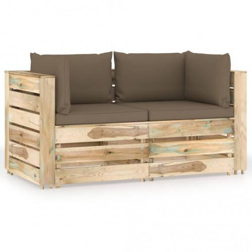 vidaXL Pallsoffa 2-sits med dynor tryckimpregnerat trä