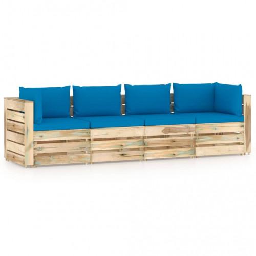 vidaXL Pallsoffa 4-sits med dynor tryckimpregnerat trä