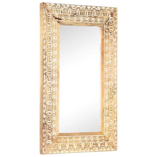 vidaXL Handsnidad spegel 80x50x11 cm massivt mangoträ