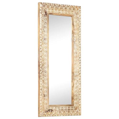 vidaXL Handsnidad spegel 110x50x11 cm massivt mangoträ