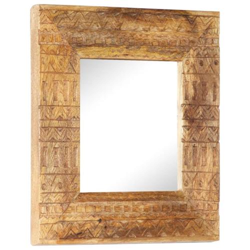 vidaXL Handsnidad spegel 50x50x11 cm massivt mangoträ