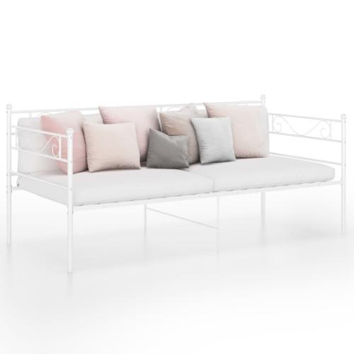 vidaXL Sängram bäddsoffa vit metall 90x200 cm