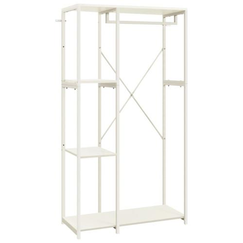 vidaXL Garderob vit 90x40x167 cm metall och spånskiva