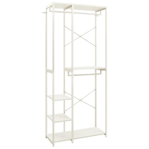 vidaXL Garderob vit 90x40x213 cm metall och spånskiva