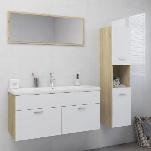 vidaXL Badrumsmöbler vit och sonoma-ek spånskiva