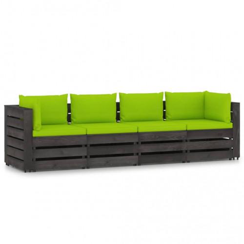 vidaXL Pallsoffa 4-sits med dynor grå impregnerat trä