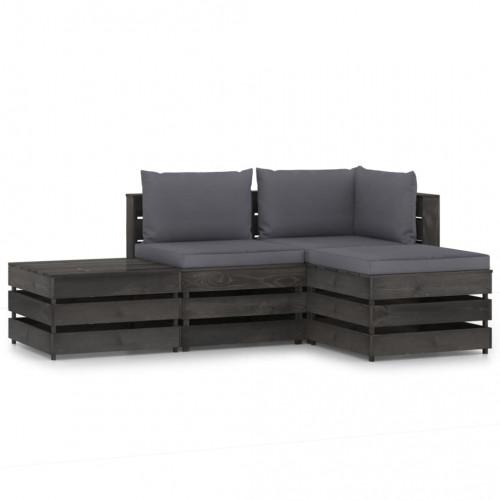 vidaXL Loungegrupp med dynor 4 delar grå impregnerat trä