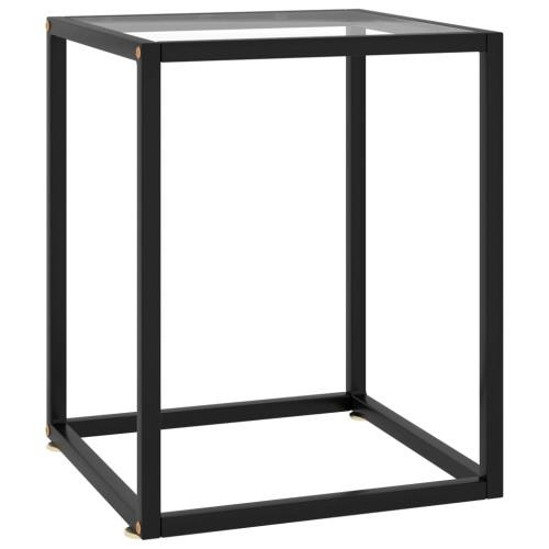 vidaXL Soffbord svart med härdat glas 40x40x50 cm