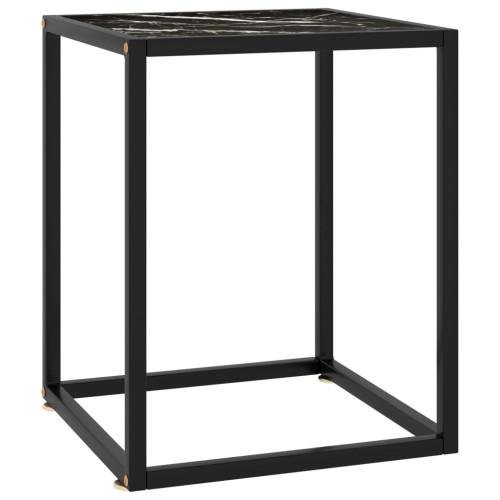 vidaXL Soffbord med svart marmorglas 40x40x50 cm