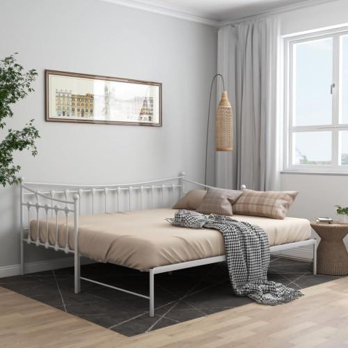 vidaXL Utdragbar sängram bäddsoffa vit metall 90x200 cm