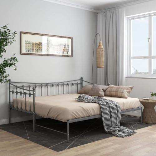 vidaXL Utdragbar sängram bäddsoffa grå metall 90x200 cm