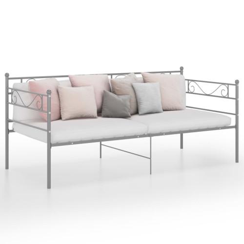 vidaXL Sängram bäddsoffa grå metall 90x200 cm