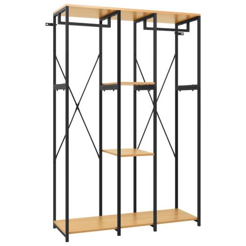 vidaXL Garderob svart och ek 110x40x167 cm metall och spånskiva